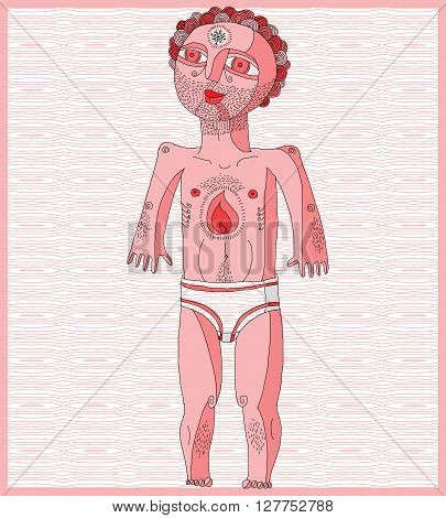 Vector Illustration Of Nude Man, Adam Concept. Hand Drawn Image Of Person Isolated On White Symboliz
