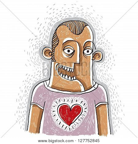 Happy man in love conceptual illustration male smiling. People positive expressions. Hand-drawn man with a heart symbol kindness allegory.