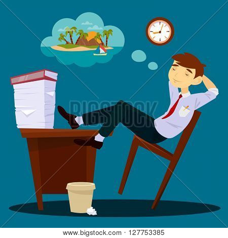 Businessman Dreaming about Vacation. Sleeping Businessman Vector illustration