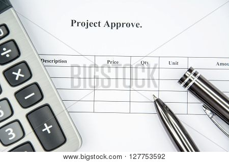 Business concept document sign for project approve