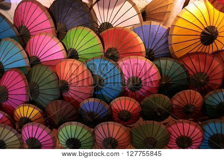 umbrellas at the nightmarket in the town of Luang Prabang in the north of Lao in Souteastasia.