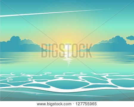 Evening sea beach at sunset with waves clouds and a plane flying in the sky vector summer background summer illustration summer beach