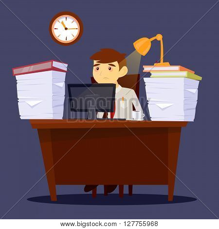 Overworked Exhausted Businessman. Stress at Work. Vector illustration