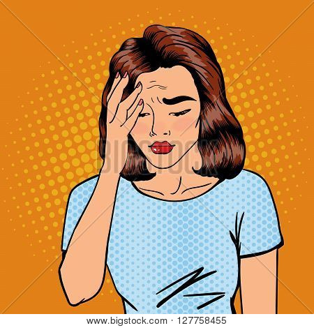 Woman has a Headache.  Pop Art Banner Vector illustration