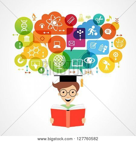 The concept of modern education. Child's head surrounded by science and education icons in brightly colored circle.