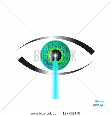 Vector illustration of a concept of laser vision correction. Icon eye with a blue laser beam. poster