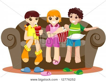 Watching Television - Vector