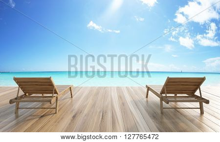 Wooden ground with two chaise longues on sea and skies background. 3D Rendering
