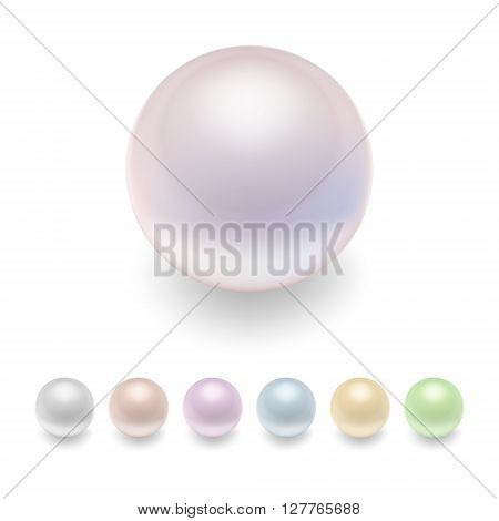 Realistic pearls set. Pearl icon vector. Isolated pearl. Pearl image. Pearl template. Pearl design. Vector EPS10 illustration.