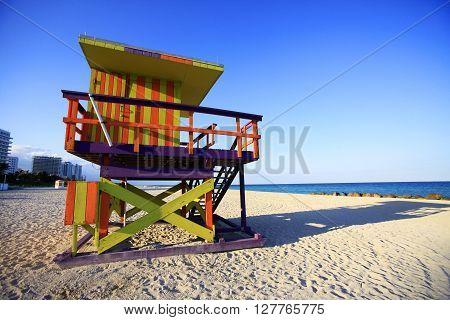Colorful lifeguard hut in popular South Beach in Miami.