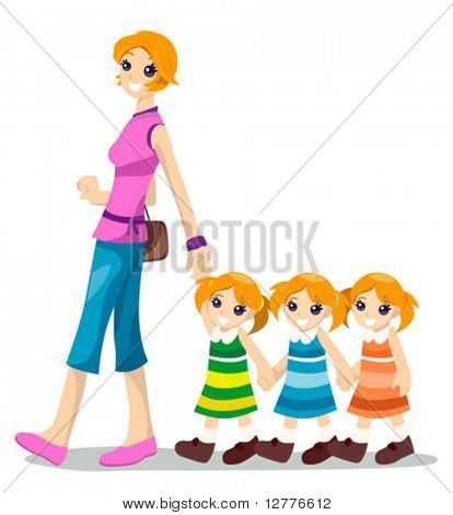 Mom with Triplets - Vector