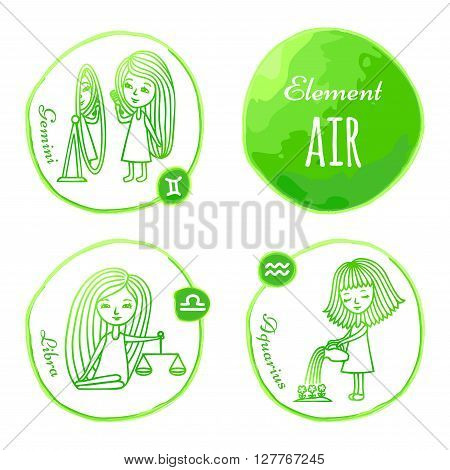 Vector horoscope drawn by hand. Set of 3 zodiac signs of elements of air: Gemini, Libra and Aquarius. Little girls drawn with a green outline. Imitation of watercolor.