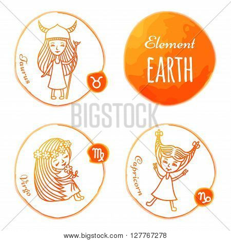 Vector horoscope drawn by hand. Set of 3 zodiac signs of elements of earth: Taurus, Virgo and Capricorn. Little girls drawn with a orange outline. Imitation of watercolor.