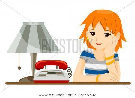 Teen waiting for a phone call - Vector