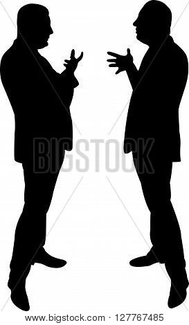 black silhouettes of two men standing and talking to each other