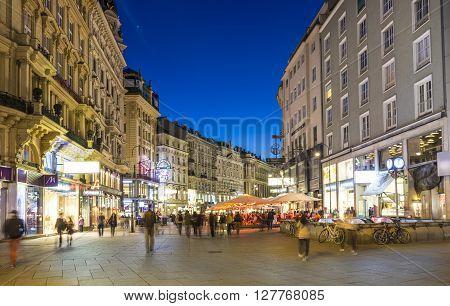 People Visit Graben Street In Vienna By Night