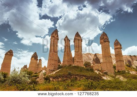 Rock formations  in Love Valley  of Cappadocia , Turkey