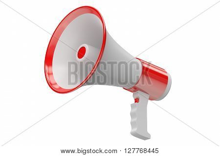 Megaphone 3D rendering isolated on white background