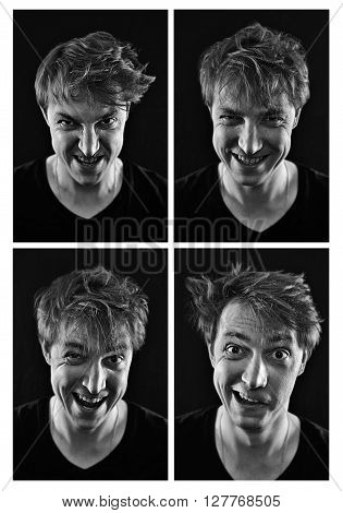 collection of crazy young man emotions on a black background