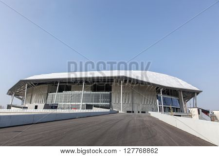 Lyon, France - March 21, 2016: The Parc Olympique nicknamed the Grand Stade and the Stade des Lumieres, is a 60 000 seat stadium for French football club Olympique Lyonnais