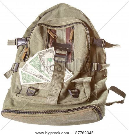 Backpack and several American dollars. A backpack of color khaki it is isolated on a white background a close up