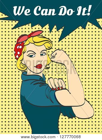 We Can Do It. Iconic woman's fist symbol of female power and industry. cartoon woman with can do attitude.