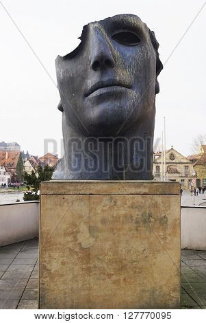 BAMBERG GERMANY - DECEMBER 05 2015: Centurione I bronze statue by Polish born sculptor Igor Mitoraj in Bamberg Germany