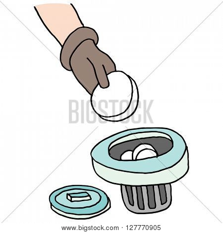 An image of a adding chlorine tablets to pool dispensor.