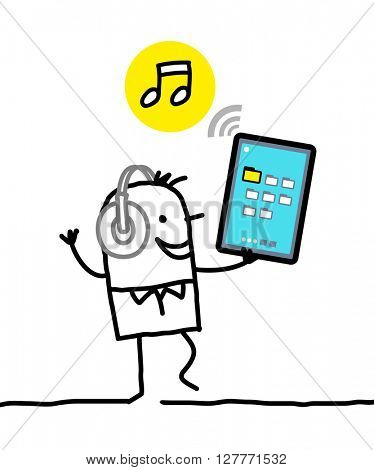 cartoon character with tablet - music