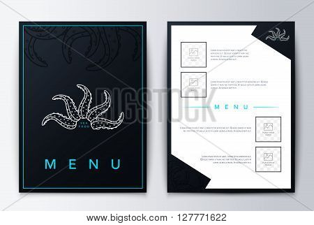 Menu design background for restaurant or coffee. Design cover menu. Brochure culinary menu. Menu design.  Restaurant menu, template design. Food flyer brochure. Sea restaurant menu design.