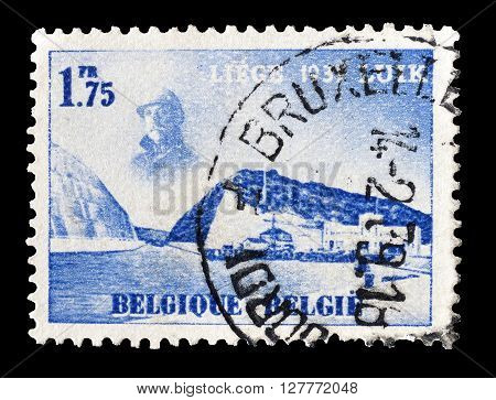 BELGIUM - CIRCA 1938 : Cancelled postage stamp printed by Belgium, that shows Eygenbilsen Cut in Albert Canal.