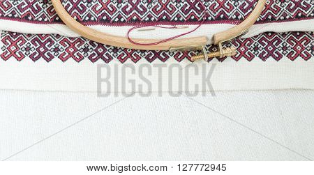 Fragment of embroidery on linen and accessories poster