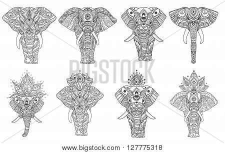 Big set card with Elephant. Frame of animal made in vector. Elephant Illustration for design, pattern, textiles. Hand drawn map with Elephant. Use for childrens clothes, pajamas, web sites
