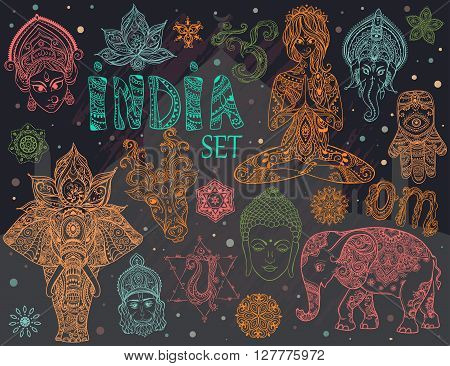 Big set with elements of Indian culture. Gods Ganesha, Navratri, Hanuman. Lord Buddha. Lotus, chakras, yoga posses. Ornamental elephant and mandalas. Hamsa for luck. Medallion, yoga, india, arabic