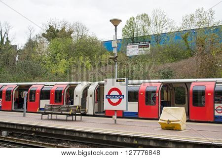 London UK - April 18: London Underground North Acton Tube station two days before Queen Elizabeth II 90th birthday on April 18 2016