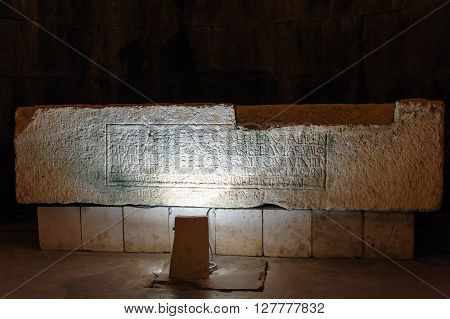 SPLIT CROATIA - SEPTEMBER 2 2009: Roman sarcophagus in the substructures of Diocletian's Palace