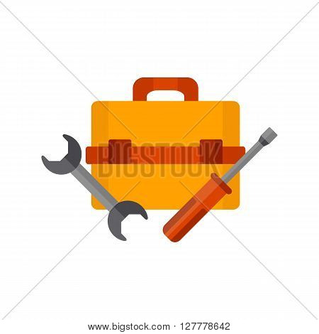 Vector illustration with cartoon screwdriver wrench and toolbox. Repair tools background. Vector illustration with toolkit objects. Isolated repair tools logo on white background.