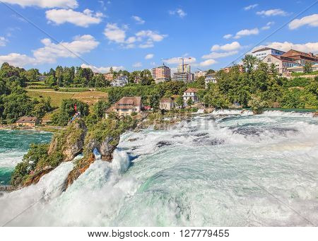 The Rhine Falls in summer. The Rhine Falls (Rheinfall in German) is the largest plain waterfall in Europe, located on the Rhine river in Switzerland.