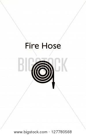 Fire hose signage isolated on white background