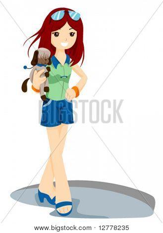 Teen with Pet Dog - Vector