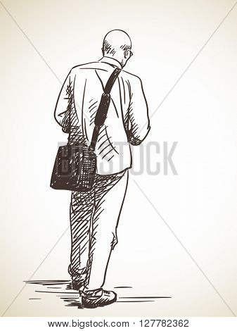 Sketch of bald-headed man standing Back view Hand drawn illustration