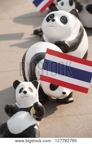 BANGKOK, THAILAND - MARCH 4, 2016 : 1600 Pandas World Tour in Thailand by WWF at Sanamluang , Bangkok . 1600 paper marche pandas are made from recycled materials to represent 1600 pandas left in the wild.