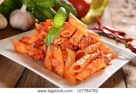 Penne Pasta With Hot Chili Sauce Arrabiata