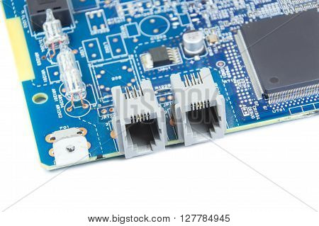 Closed up FAX circuit board isolated on white background