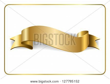 Gold satin empty ribbon. Golden blank banner. Design decoration element isolated on white background. Vintage retro style. Template flag greeting card. Symbol guarantee product. Vector illustration