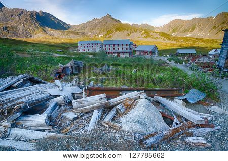 Wooden planks and beams are all that remain of a gold mining building in southern Alaska.
