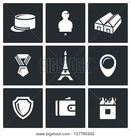 Vector Set of French Legion Icons. Kepi, Target, Barracks, Order, Eiffel Tower, Deployment, Security, Payment, Obstacle.