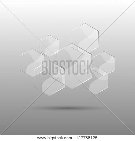 Hexagon abstract background with transparent elements, stock vector