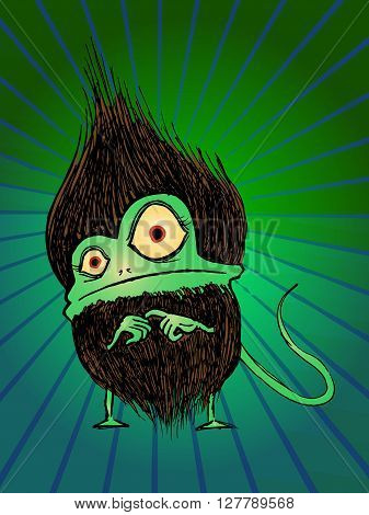 Hairy furry monster. Hand drawn vector stock illustration