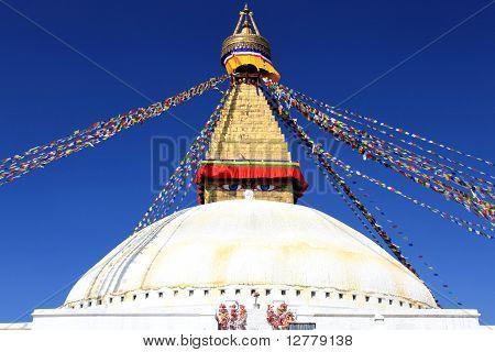 Boudhanath Stupa with blue sky